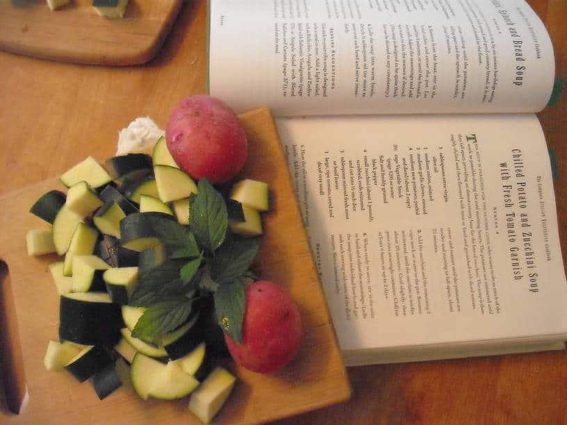 Recipe ingredients alongside the cookbook