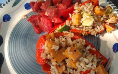 Unpacked Poblanos with Sweet Potato and Rice Filling