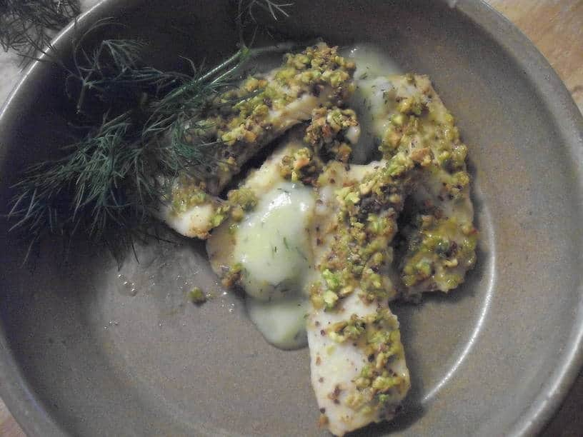 Pistachio-Encrusted Bluegill with Rosi's Dill Sauce