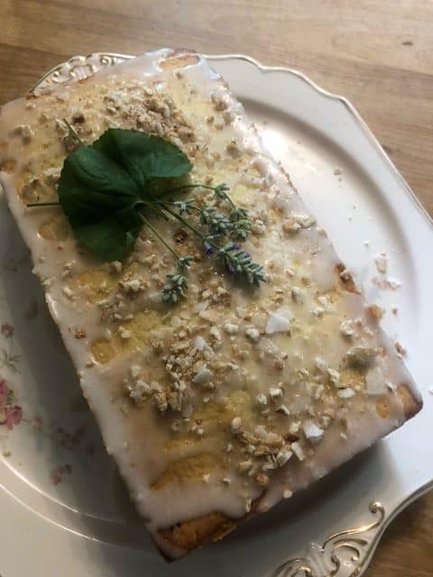 Old Fashioned Lemon Pound Cake with Lavender and Rosemary